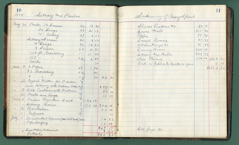 Account book of Furnishing Committee for the 1884 Chapter House.