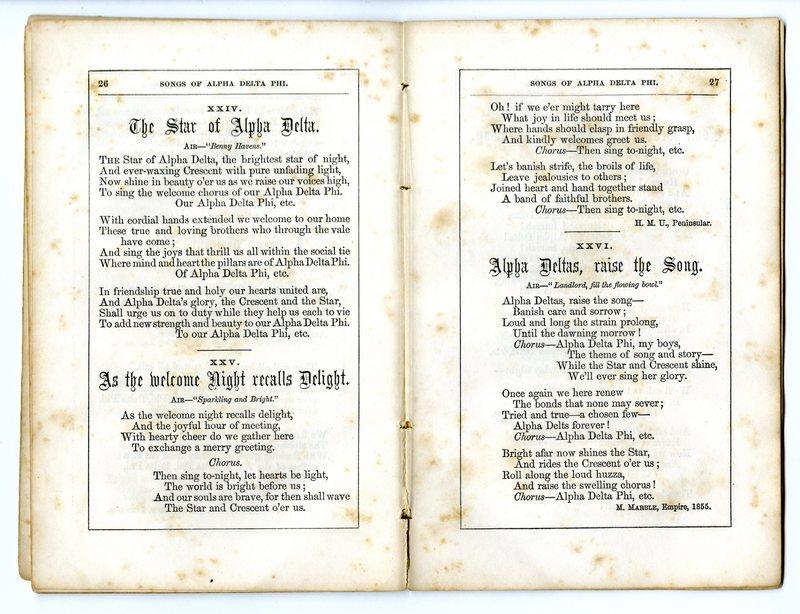 Songs of Alpha Delta Phi.