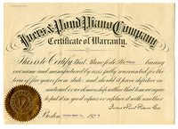 Certificate of Warranty for the House piano.