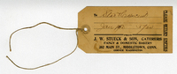 Return tag for an item from J.W. Stueck.
